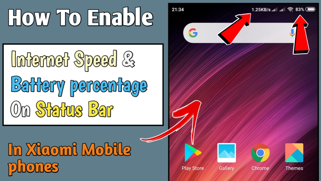 How To Show Internet Speed And Battery Percent On Status Bar In Xiaomi Mobile Phones