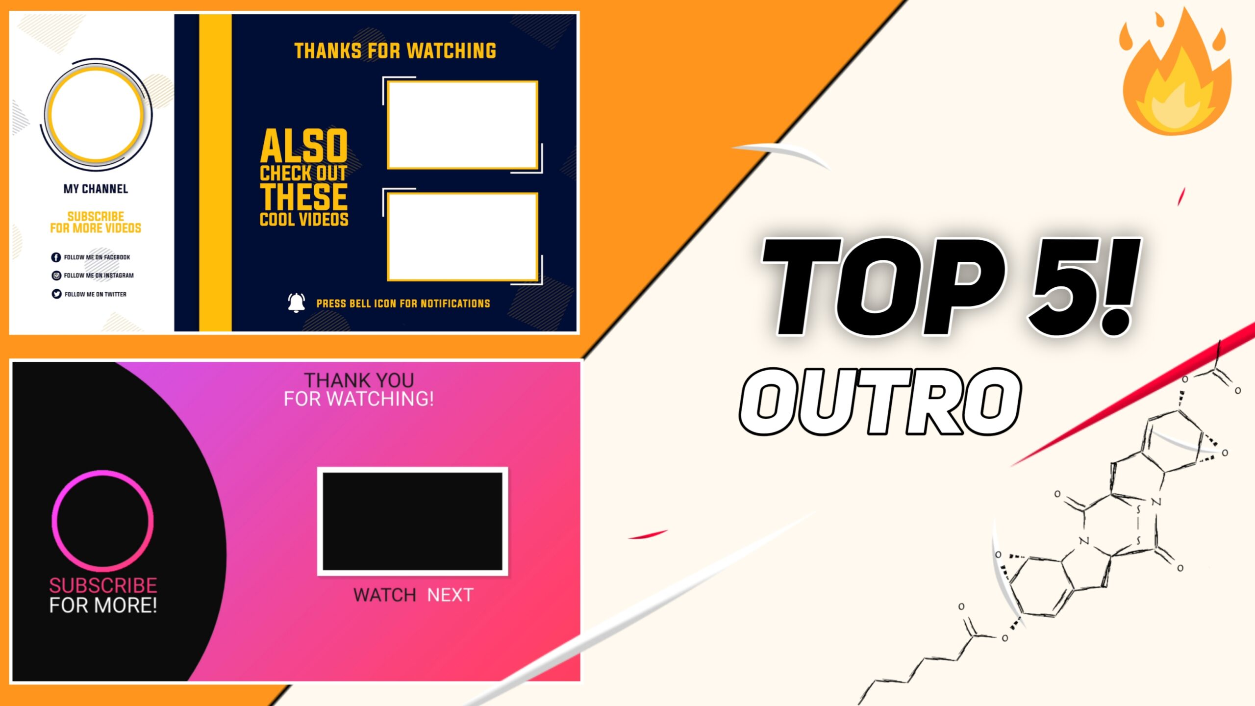 Top 5 Outro & Endscreen Template Free Download || Non Copyright